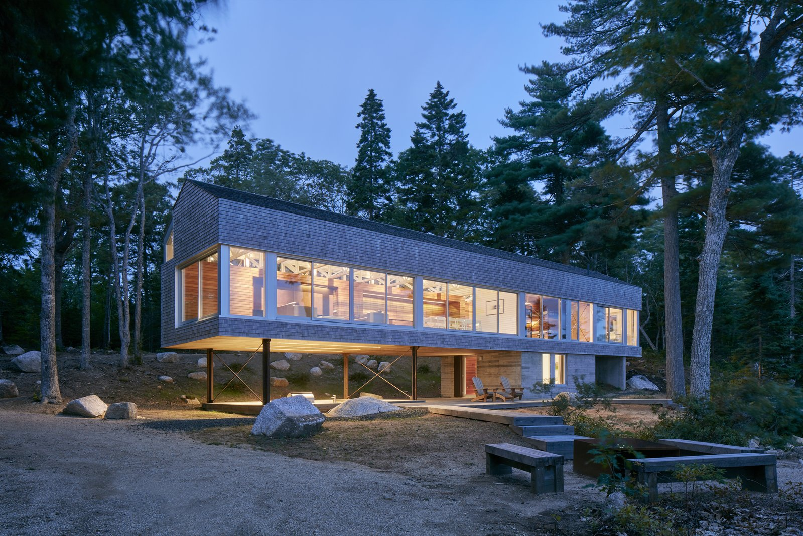 Exterior, Wood Siding Material, Metal Roof Material, and Shed RoofLine Mirror Point Cottage, hovering on legs of steel, recasts the idea of the weathered Nova Scotia fisherman's shack.  Best Photos from This Cedar-Shingle Cottage Gives Nova Scotia's Fishing History a Modern Spin