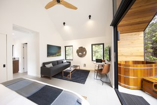 The vaulted living and sleeping area is compact yet effortlessly flaunts different spaces within.