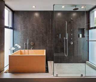 The serene master bath, complete with deep Hinoki soaking tub.