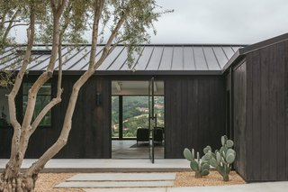 """Fusing the residence with its stunning backdrop was a priority for architect Dan Weber. It also stands out from the area's abundance of estates with rolling gardens. """"The shou sugi ban works really well with the native California landscape,"""" he says. """"The oak trees' canopy is dark forest green."""""""