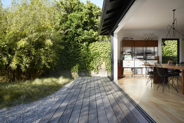 """From the dining table, """"it feels like you're on the outdoor patio,"""" says architect Takashi Yanai."""