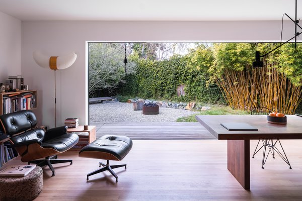 The Eames Lounge Chair and sunken garden make for a serene combination.