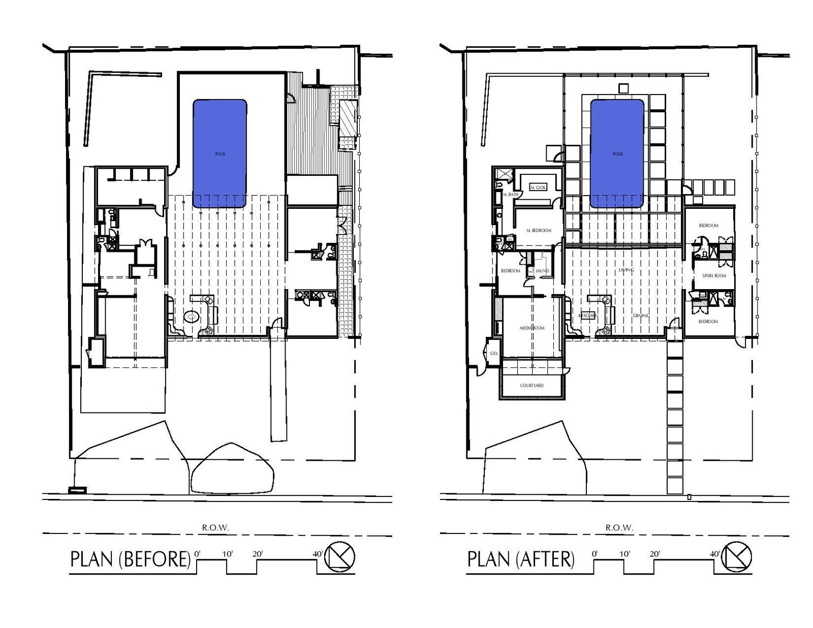 Before and after plans of the Arguedas House