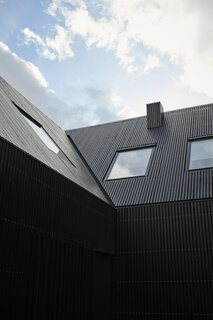 EFFEKT sheathed the exterior in sleek black-stained larch that extends up to the gable roof.