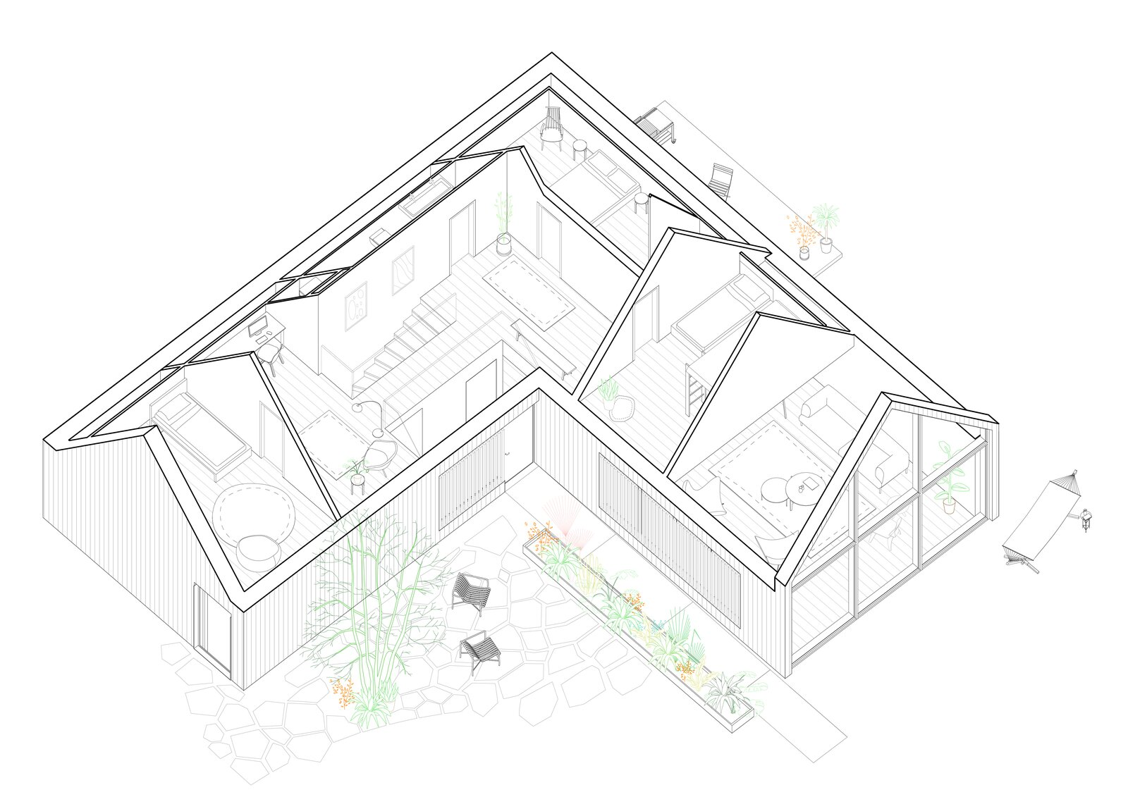 One of the villa's drawn plans  Photo 11 of 11 in A Black Gable Villa in Copenhagen Stands Out From Its Stately Neighbors