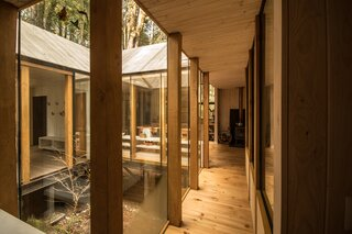 Natural light filters through the glazing, suffusing the cabin in warmth.