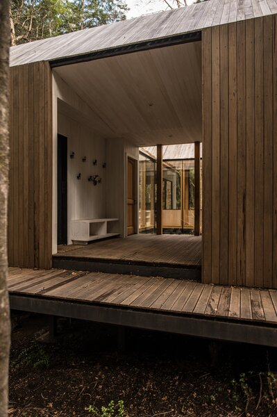 Underneath the cabin's pine finish lies a weatherproof membrane—an essential consideration granted the region's rainy climate.