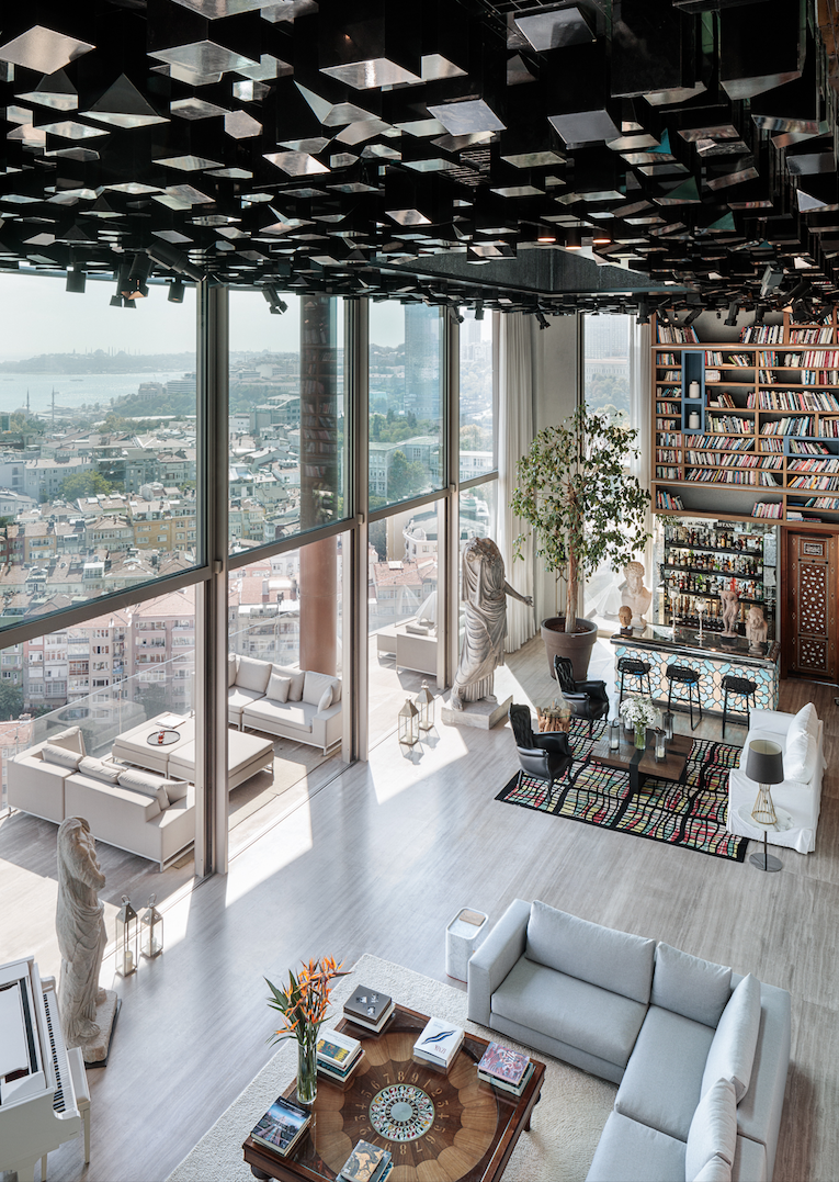Istanbul penthouse living room library