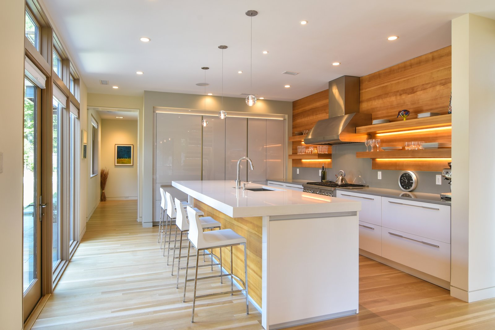 Kitchen, Metal, Refrigerator, Range Hood, Range, Ceiling, Undermount, Concrete, Pendant, Light Hardwood, White, and Recessed Mount Pleasant Modern: Kitchen   Best Kitchen Ceiling Concrete Pendant Range Hood Range Photos from Mount Pleasant Modern