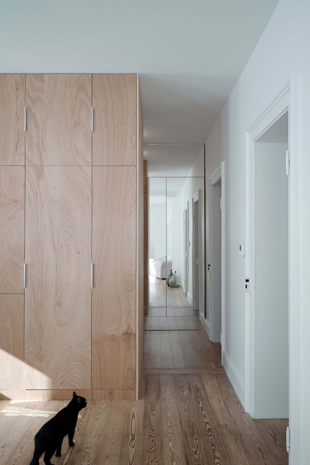 Living Room and Medium Hardwood Floor a mirror wall in the background  Corner Apartment in Strasbourg, France by Dratler Duthoit