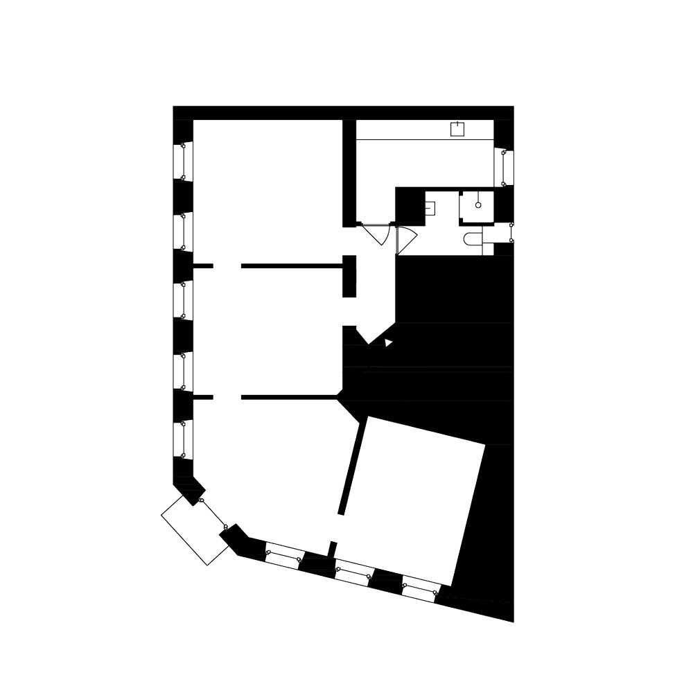 Plan of the existing apartment  Corner Apartment in Strasbourg, France by Dratler Duthoit