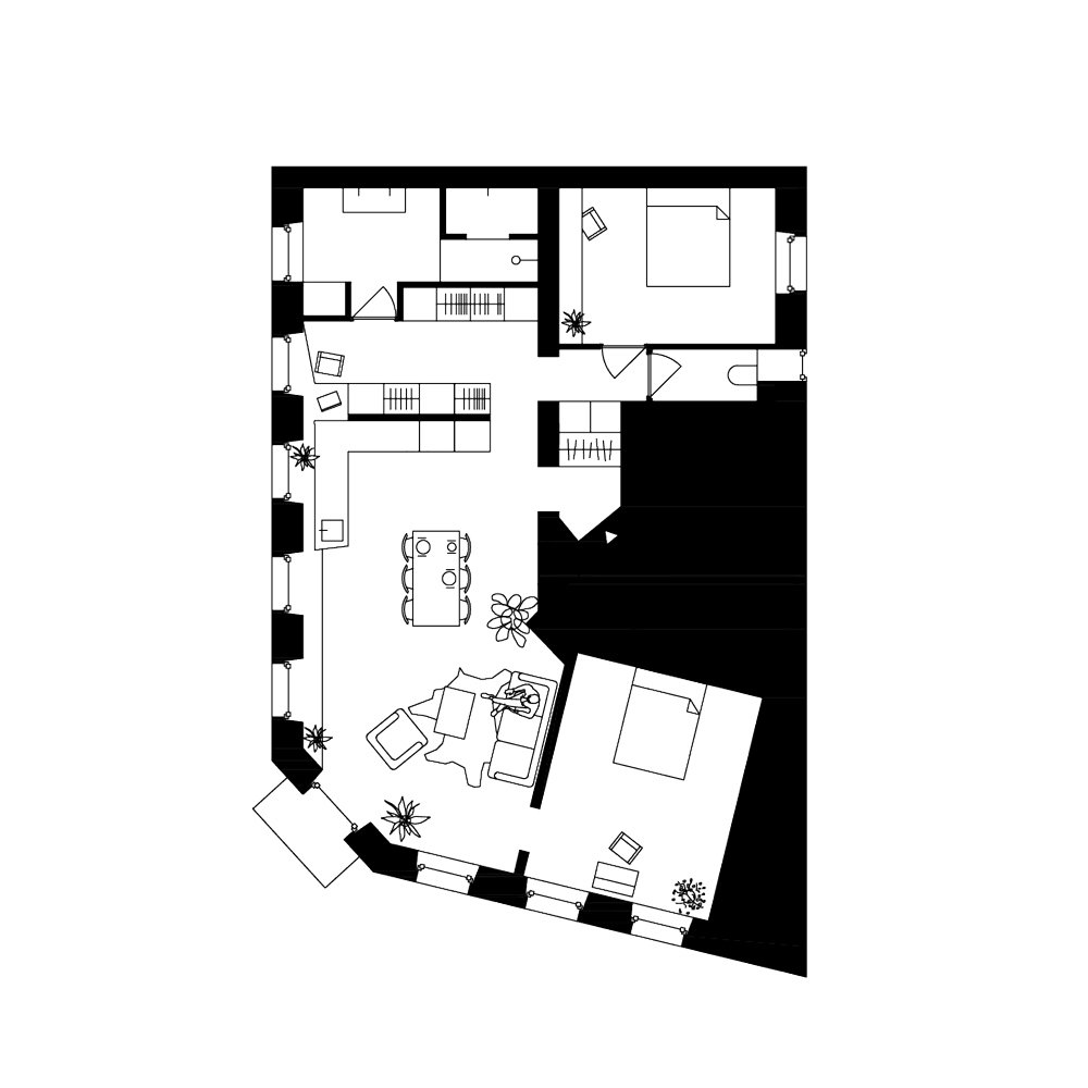 Plan of the apartment today  Corner Apartment in Strasbourg, France by Dratler Duthoit