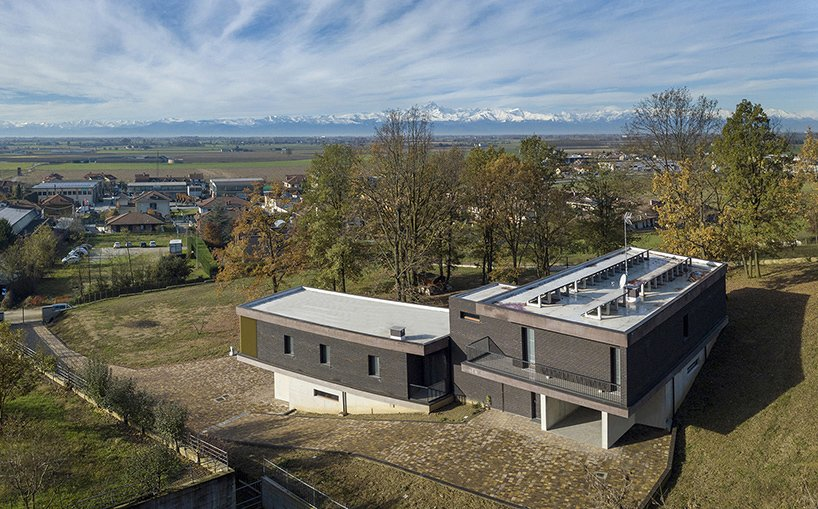Outdoor, Concrete Pools, Tubs, Shower, Trees, Rooftop, Vertical Fences, Wall, and Landscape Lighting The Alps and Monviso in the background  Villa Rambo