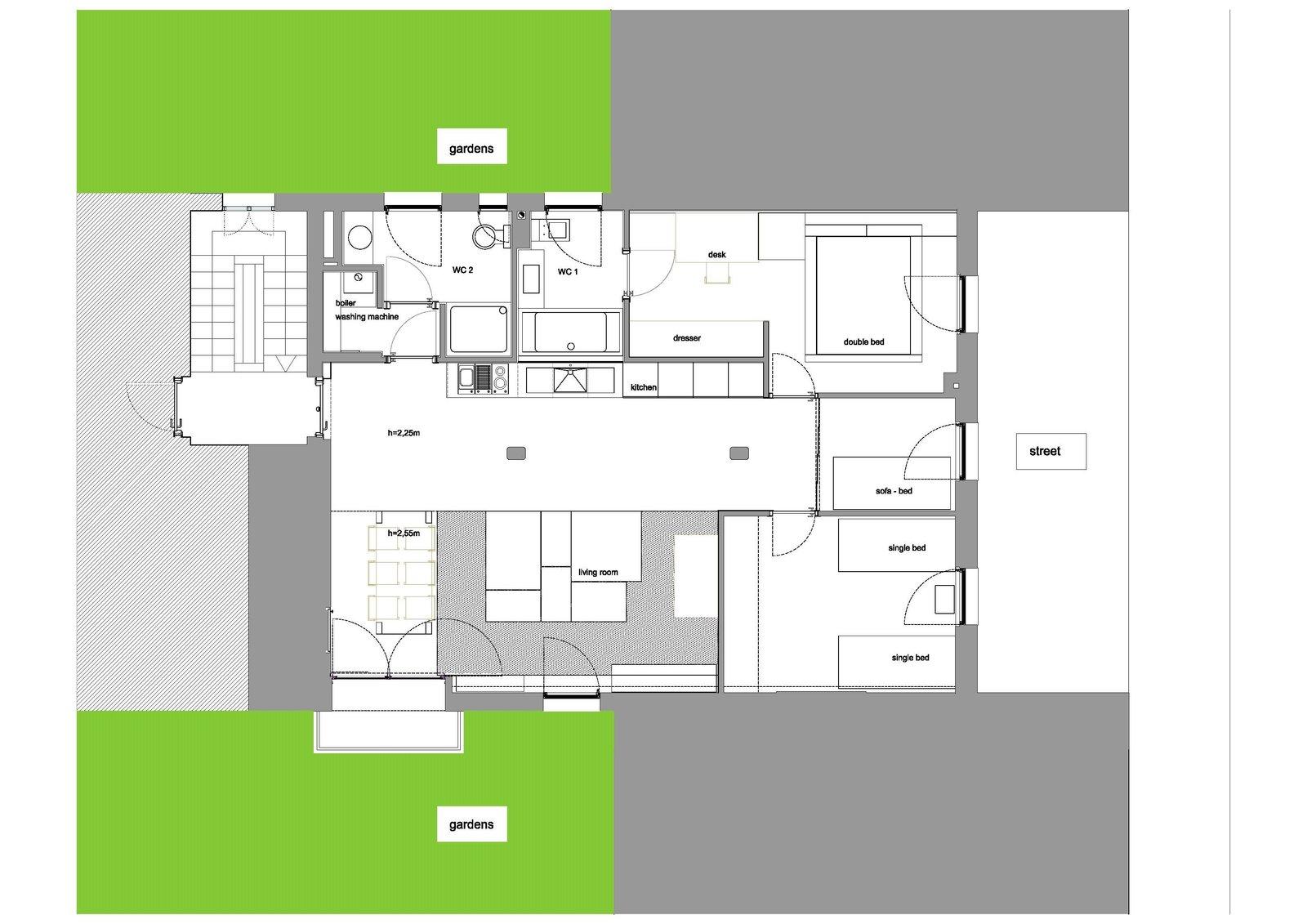Plan of the apartment  Echávarri house 100m2. Loft between gardens.
