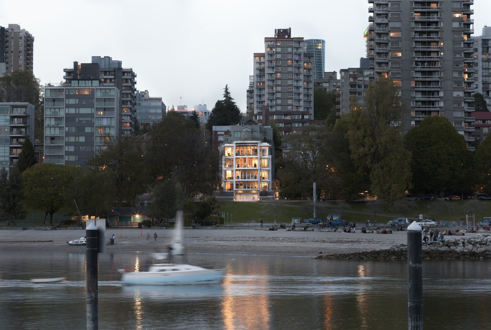 Outdoor, Landscape Lighting, and Hardscapes Distinctive windows wrap around corners, establishing a seamless line of sight to the breathtaking ocean views of English Bay and beyond.   Vancouver Features Ultra Luxury Rental at Eventide