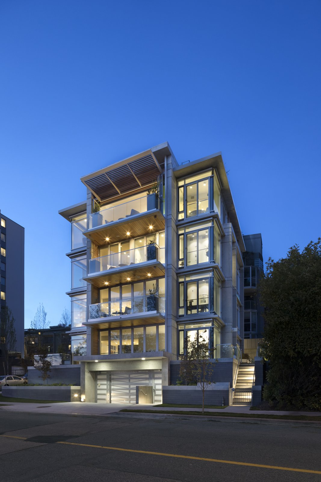Exterior and Beach House Building Type The simple beauty of contemporary architecture paired with the sophistication of glass produces timeless elegance, while a hint of wood emits West Coast warmth.   Vancouver Features Ultra Luxury Rental at Eventide