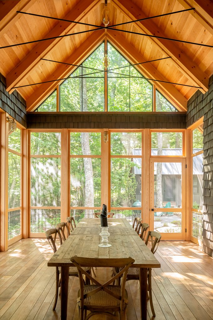 Dining Room, Ceiling Lighting, and Wall Lighting Screen Porch  Photos from Camp in the Trees