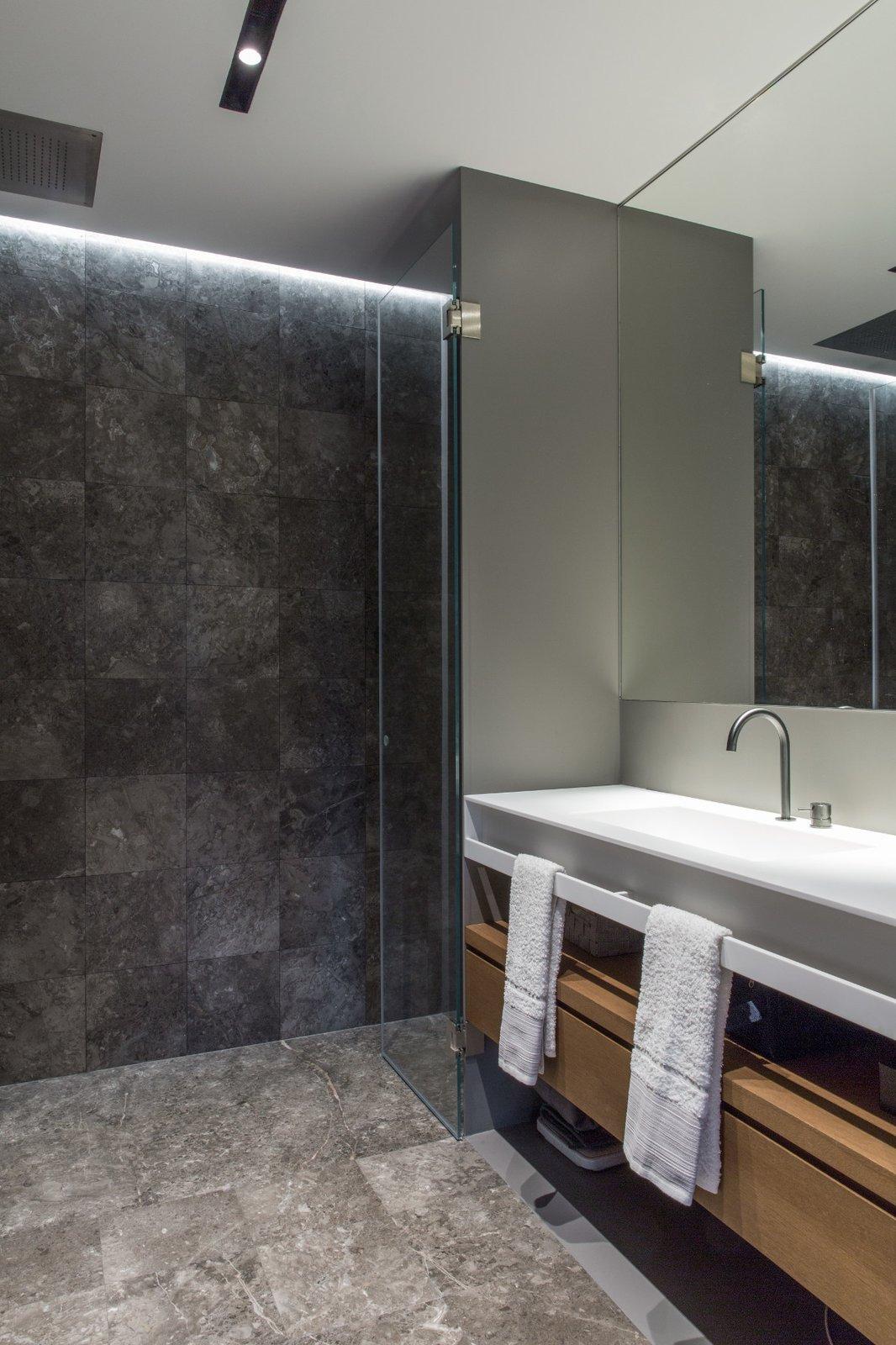 Bath Room, Ceiling Lighting, Marble Floor, Vessel Sink, and Marble Wall Bathroom  House A326