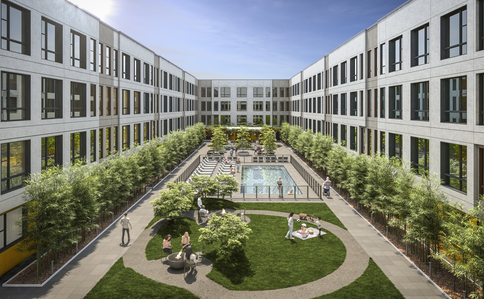 Outdoor, Garden, Hardscapes, Walkways, Swimming Pools, Tubs, Shower, Shrubs, and Grass Outside, a heavily landscaped courtyard by Belgian landscape designers at Bureau Bas Smets is home to a pool, BBQ grills, fire pits and ping pong. The pet-friendly building also features a dog-wash station and a rooftop dog run with views of Manhattan and the Statue of Liberty.   www.295J.com    295J