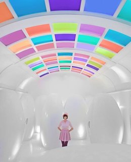 """Let's be honest: London's Sketch is probably high on your list not because of its high tea (although it's great for that) but rather its eccentric bathroom. This iconic selfie location is best known for its egg-shaped capsules that are actually """"loos,"""" and its technicolor lighting display on the ceiling."""