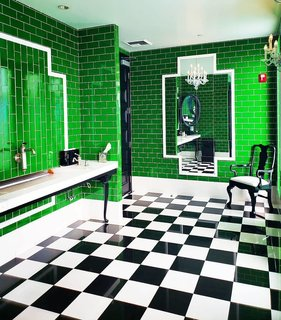 It's hard not to take a photo in this art deco bathroom at the Viceroy hotel in Santa Monica, California, which draws on rich colors and intricate geometric detail.