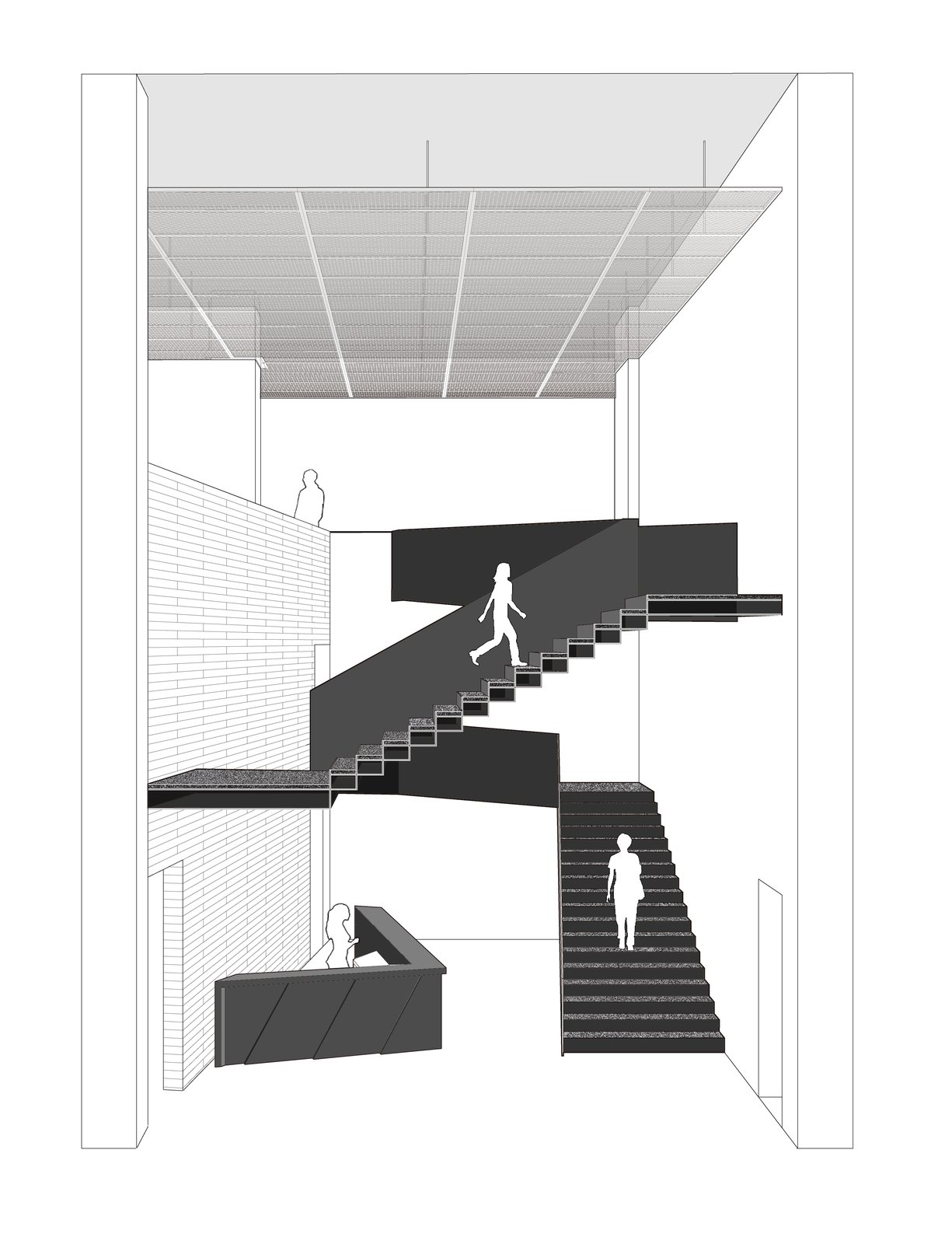 Sectional perspective of the staircase  ZHI ART MUSEUM