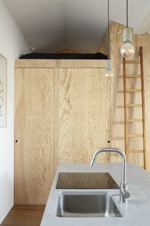 A sturdy ladder rests gently on the wooden storage wall next to the kitchen, offering access to a small sleeping alcove with a bed for two people.