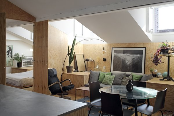 Pine plywood complements the home's bright white walls and beams, while the heightened ceilings and multiple windows make the space feel larger than its 527 square feet.