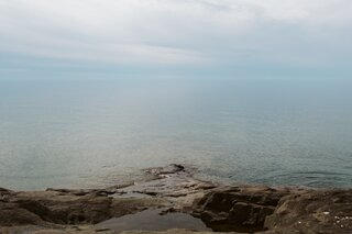 Peaceful Lake Superior waters behind the cottage.