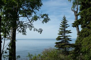 View of Lake Superior from the cottage deck.