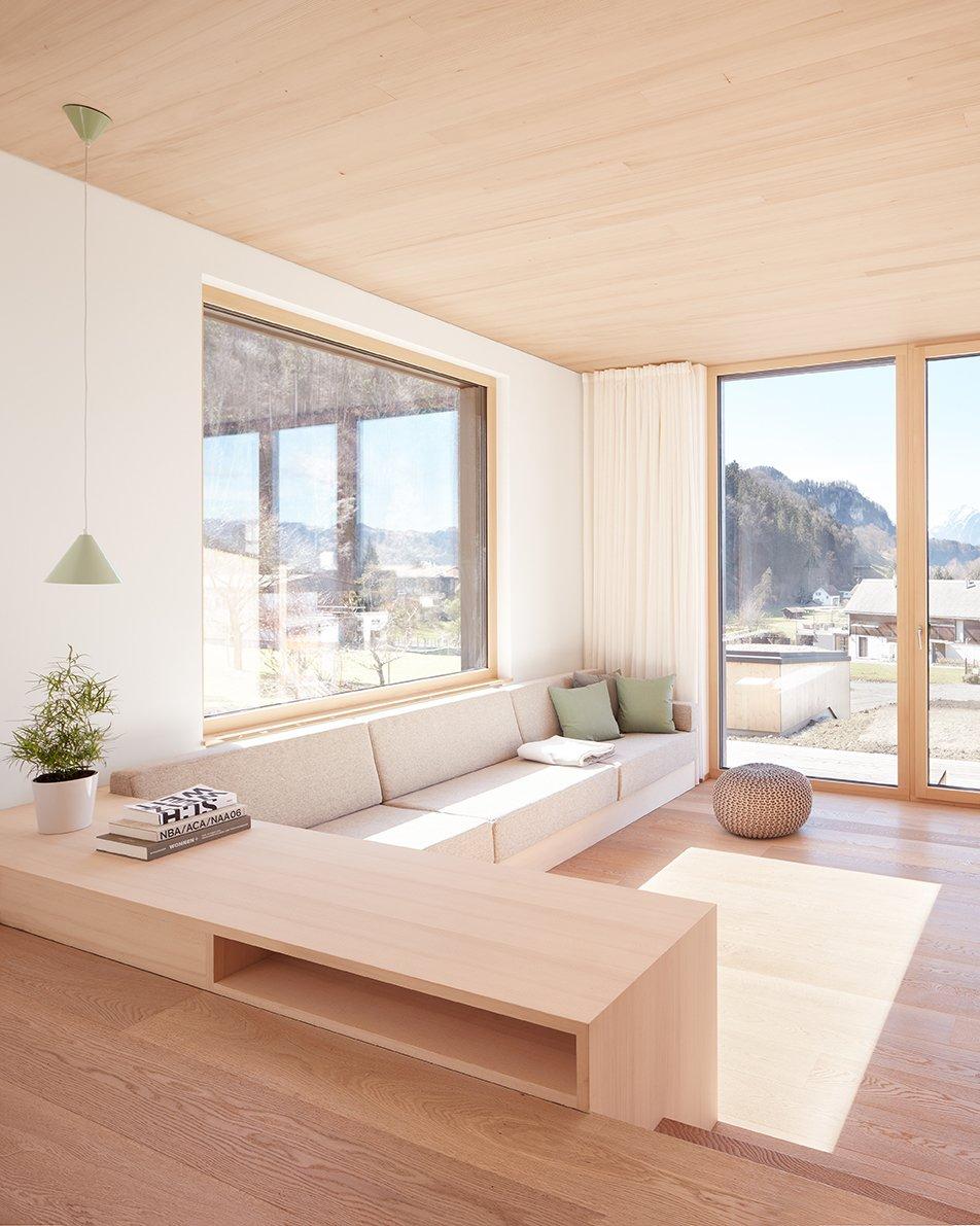 Living Room, Light Hardwood Floor, Sofa, Bookcase, and Ceiling Lighting Living Room 02  Semi detached house on a hillside