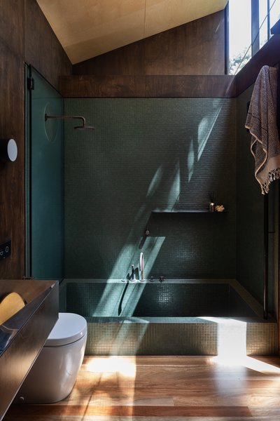 While Herbst doesn't typically construct step-in bathtubs, this project led the team to work on as small a scale as possible as to balance the supporting stilts.
