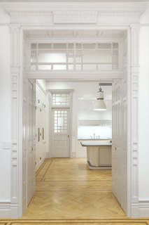 This entire doorway was fabricated by the contractors—a true labor of love to match the rest of the millwork of the home.