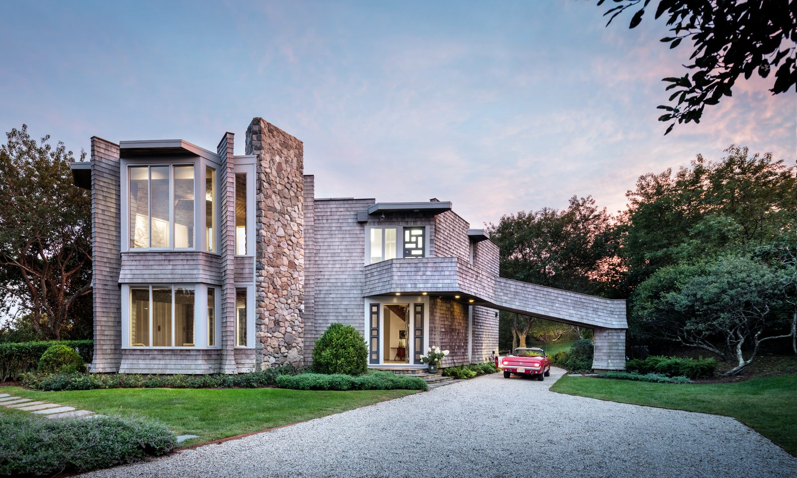 Located on 3.5 acres, the four-bedroom, three-and-a-half-bath home rests on top of a hill and is nestled up against the Montauk Point State Park.