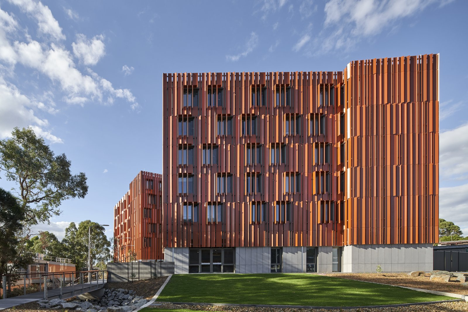 Gillies Hall at Monash University by JCB Architects folded steel exterior