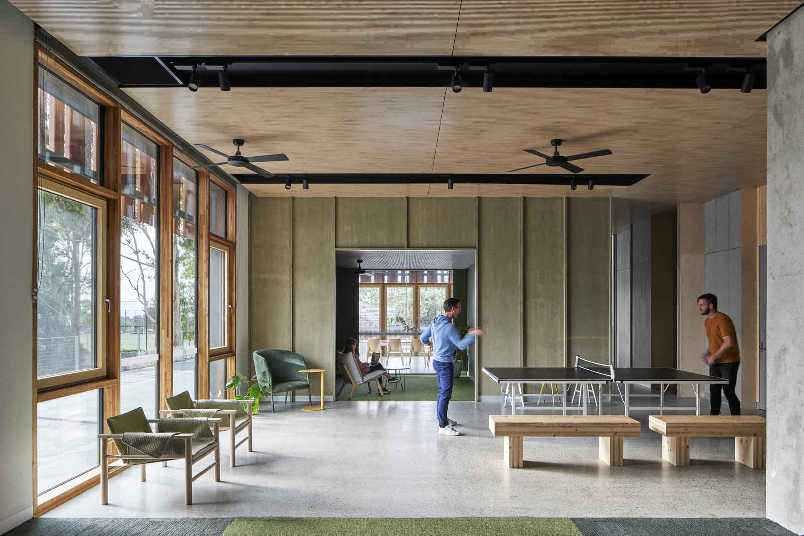 Gillies Hall at Monash University by JCB Architects game room