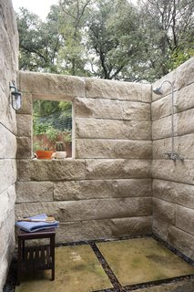 The outdoor shower is located right off the main balcony and living room.