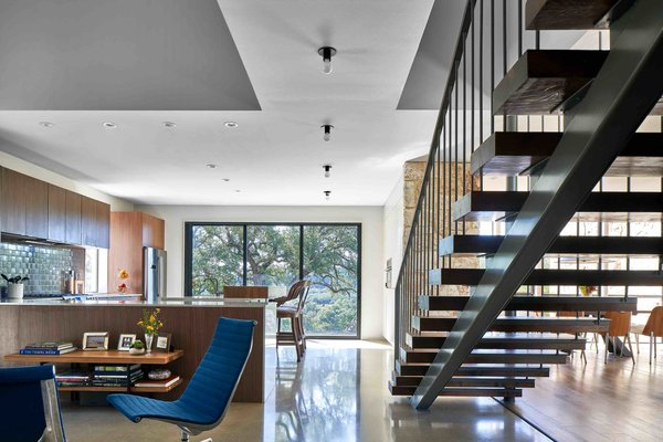 The Oostwouders wanted a home that was low-maintenance yet sophisticated. The interior is filled with materials that match the contemporary Hill Country aesthetic of the exterior.