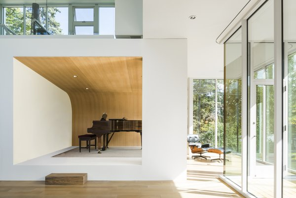 The family is able to share their love for music thanks to an in-home performance space.