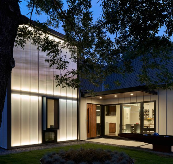 """In the daytime, the Polygal system pulls in soft, natural light, while at night there are a rainbow of options. """"It has a beautiful quality of natural light during the day—plus it manages UV rays and privacy, and controls glare,"""" says Lori."""
