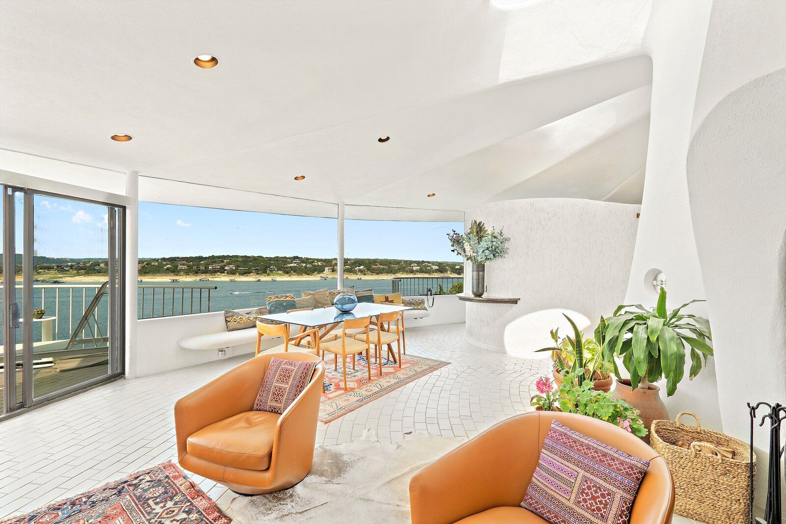 This home offers panoramic views of Lake Travis.  Photo 5 of 7 in Austin's Weird and Wonderful Sand Dollar House Can Be Yours for $2.2M Clams