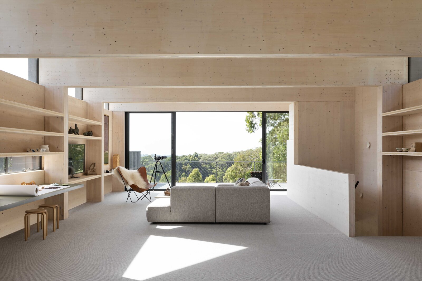 Office, Library Room Type, Chair, Storage, Desk, and Shelves A longstanding relationship between FMD Architects and CCB Envico made this project possible.  Photo 7 of 7 in Cross-Laminated Timber Gives This Renovated 1970s Australian Farmhouse a Bold Look