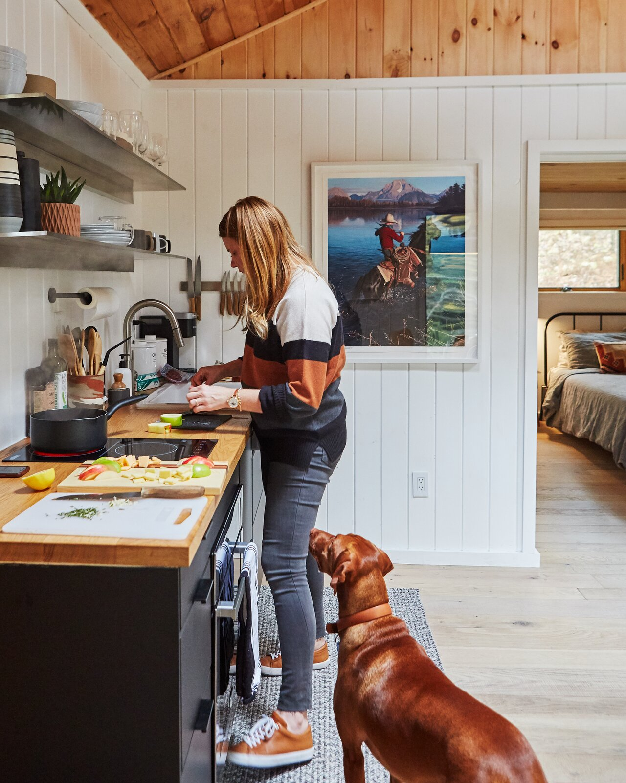 Highland Bungalow by Lauren Wesley Spear kitchen with open steel shelves and wood countertop