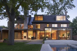 While brick is what was expected for the neighborhood, Mandel used a brick shingle for the extruded extension that occupies what was originally the side yard.