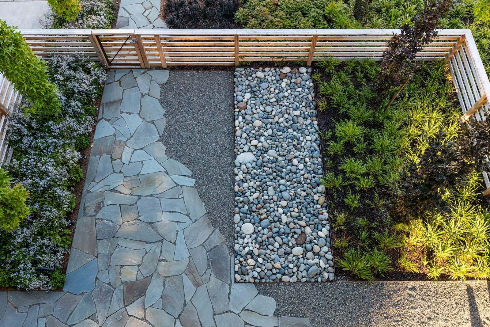 Outdoor, Walkways, Wood Fences, Wall, and Front Yard A view of the entry garden from above.  Magnolia Modern by Land Morphology