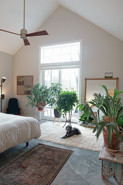 The master bedrooms are within the smaller of the two gables.