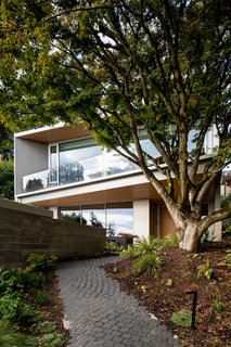 In the landscaped front garden, a cobblestone walkway wraps around a Japanese tree preserved on the site during construction. The tree adds beauty, shading, and privacy.