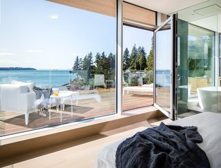 A patio extends from the master bedroom, which overlooks English Bay and the Pacific Ocean.