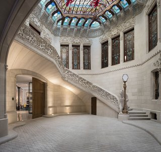 The restored entry pavilion of Mestres's Casa Bures took advantage of skilled craftsmanship sustained in Barcelona by ongoing work on Gaudí's Sagrada Familia.
