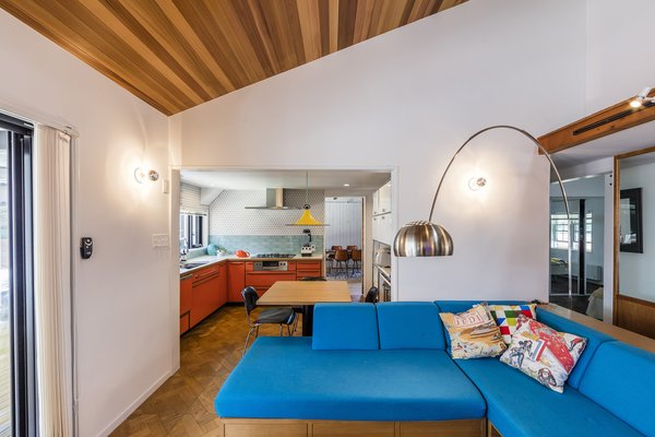 The home's interior is a colorful homage to '60s and '70s California surf shacks.